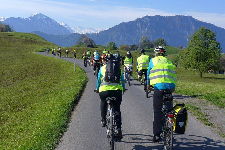 An der Velowallfahrt 2016, unterwegs zwischen Greppen und Weggis. | © 2016 Dominik Thali