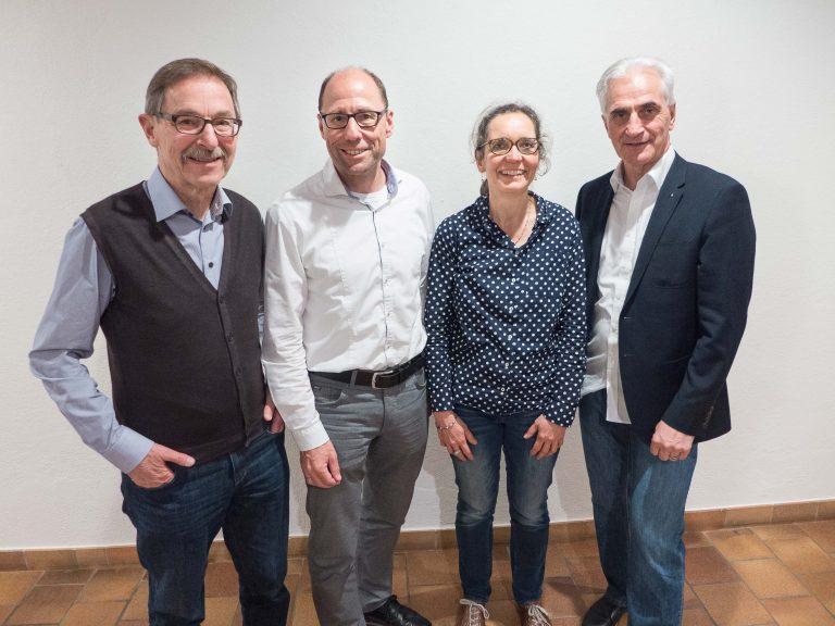 Der Vorstand des Vereins «Luzerner Landeswallfahrt zu Fuss nach Einsiedeln» (von links): Hans Moos (Aktuar). Edi Wigger (Geschäftsführer), Katharina Reich (Kassierin) und Hubert Aregger (Präsident). | © 2017 Dominik Thali